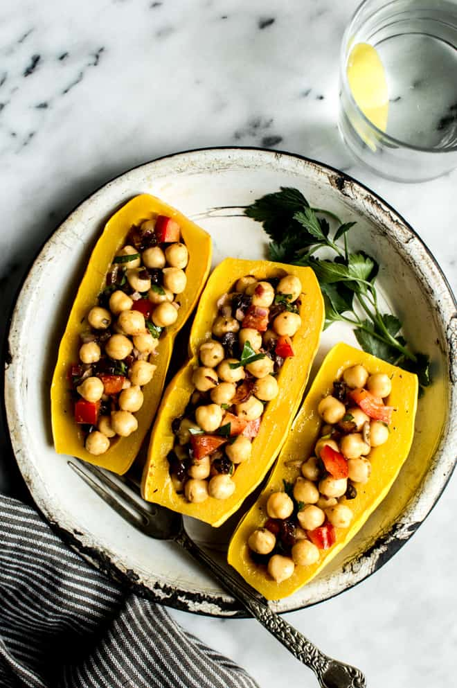 Mediterranean Chickpea Salad Stuffed Squash - an easy gluten free and weeknight meal from Lisa Lin of healthynibblesandbits.com