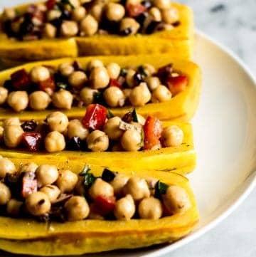 Mediterranean Chickpea Salad Stuffed Squash