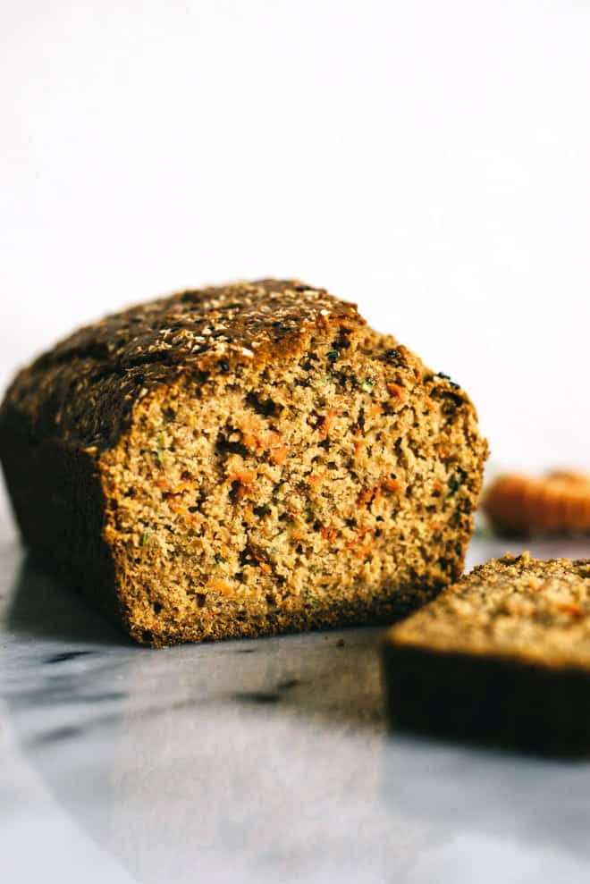 Carrot and Zucchini Olive Oil Cake - easy gluten free dessert! by Lisa Lin of healthynibblesandbits.com