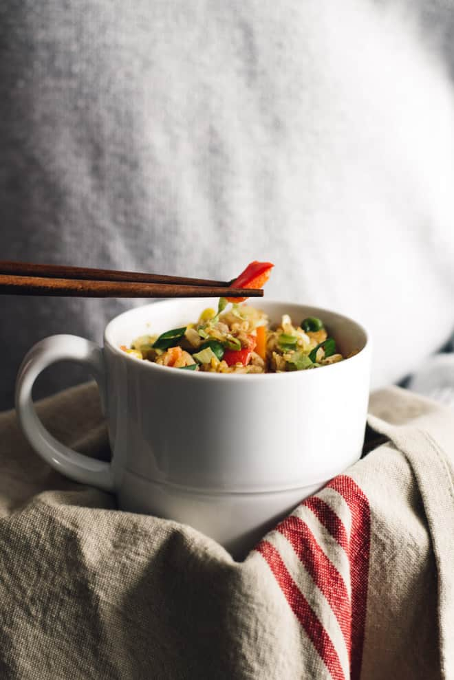 Gluten-Free Egg Fried Rice in a Mug - easy, healthy meal that's ready in less than 10 minutes! by Lisa Lin of healthynibblesandbits.com