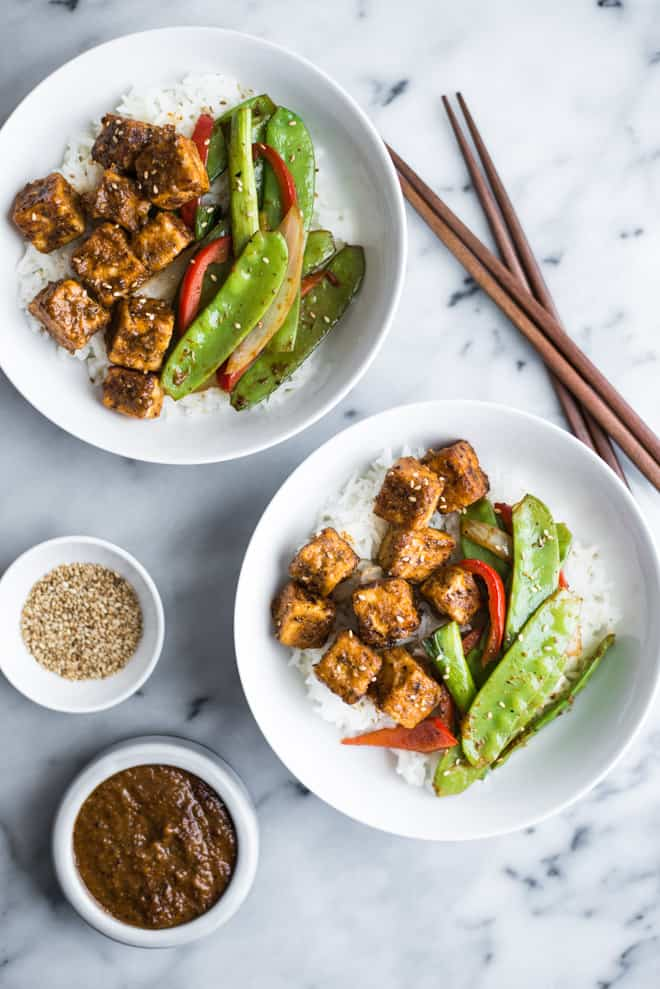 Jamaican Jerk Tofu Stir Fry - easy vegan meal that is full of spice! by Lisa Lin of healthynibblesandbits.com