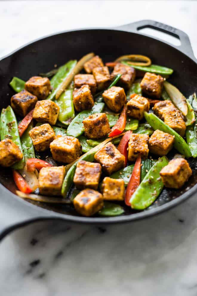 Jamaican Jerk Tofu Stir Fry - easy vegan meal that is full of spice!