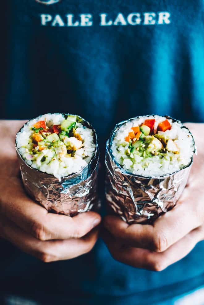 How to Make a Sushi Burrito - easy, healthy comfort food! | by Lisa Lin of healthynibblesandbits.com