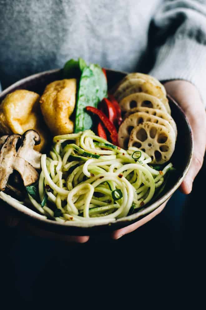 """Zucchini Noodle Bowl (""""Zoodles"""") with Peanut Coconut Sauce - this dreamy vegan and gluten-free bowl is ready in 30 minutes! by Lisa Lin of healthynibblesandbits.com"""