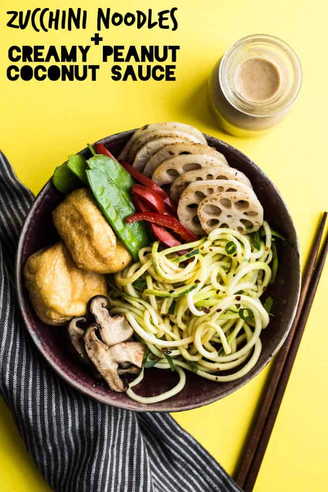 Zucchini Noodle (Zoodles) Bowl with Peanut Coconut Sauce - this dreamy vegan and gluten-free bowl is ready in 30 minutes! by Lisa Lin of healthynibblesandbits.com