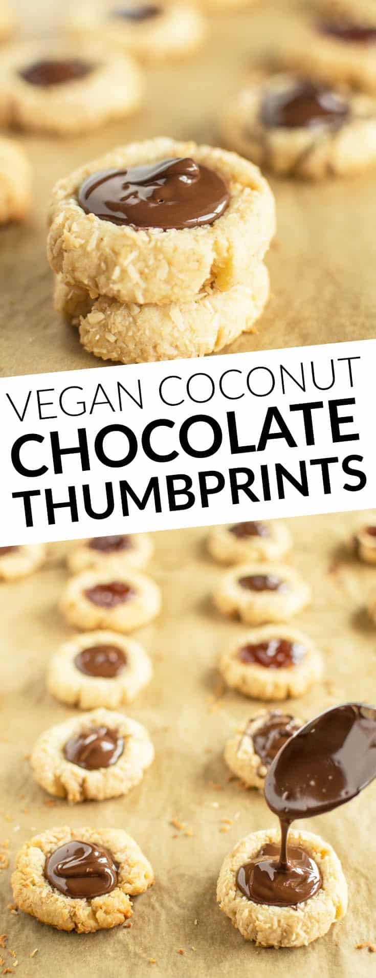 Buttery Vegan Coconut Chocolate Thumbprints are perfect for any occasion! by Lisa Lin | @healthynibs
