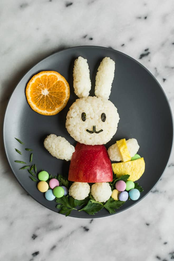 Easter bunny food art easy easter bunny food art made with rice an apple sushi seaweed forumfinder Image collections