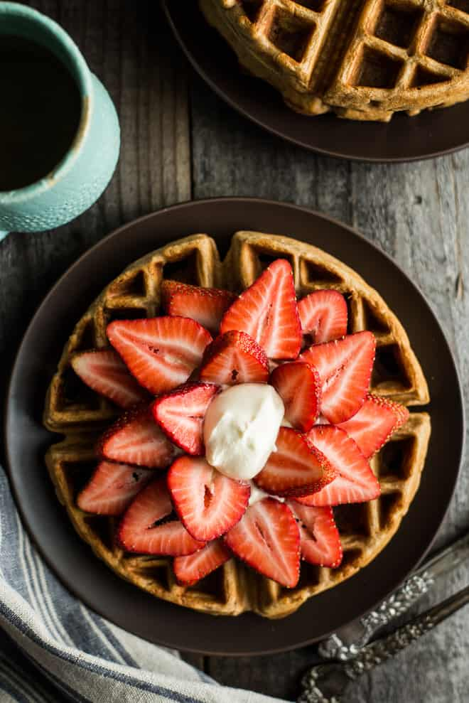 Gluten-Free Strawberries and Cream Oat Flour Waffles - these waffles are paired with a homemade kahlua whipped cream that you make in a jar! (video tutorial) by @healthynibs