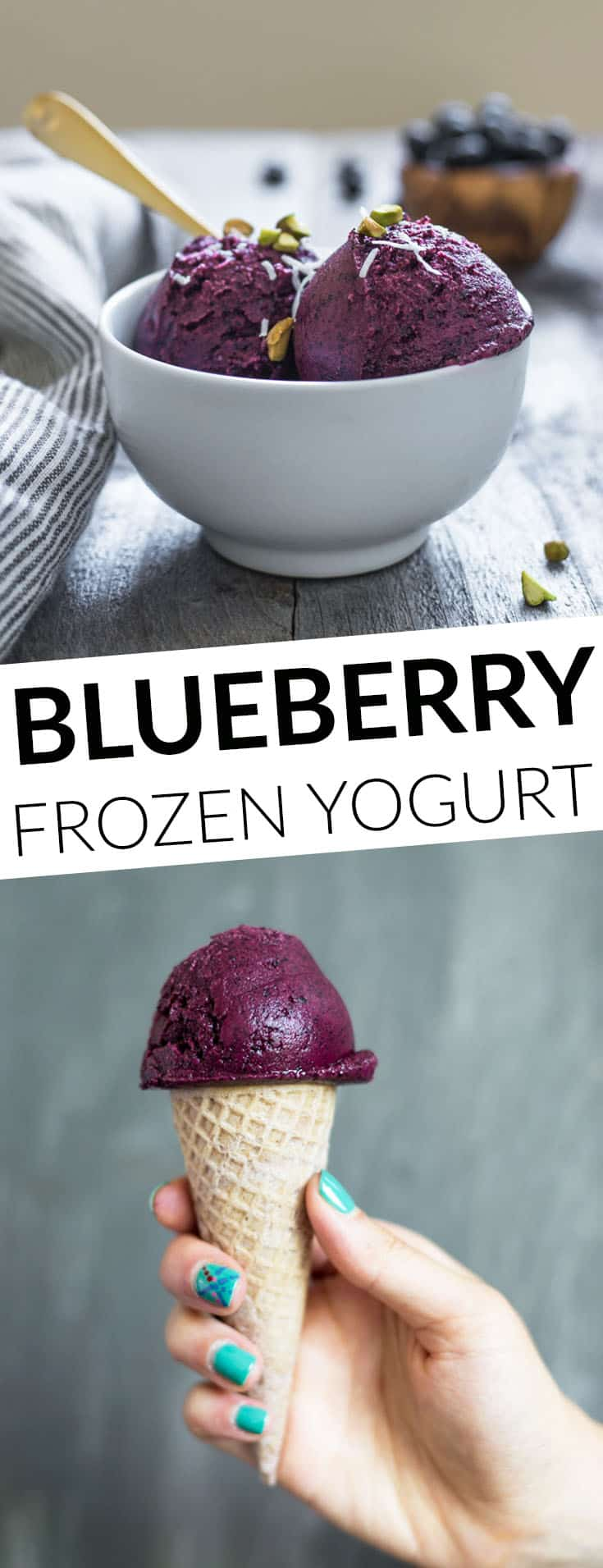 Easy homemade blueberry frozen yogurt that requires 4 ingredients only! by @healthynibs