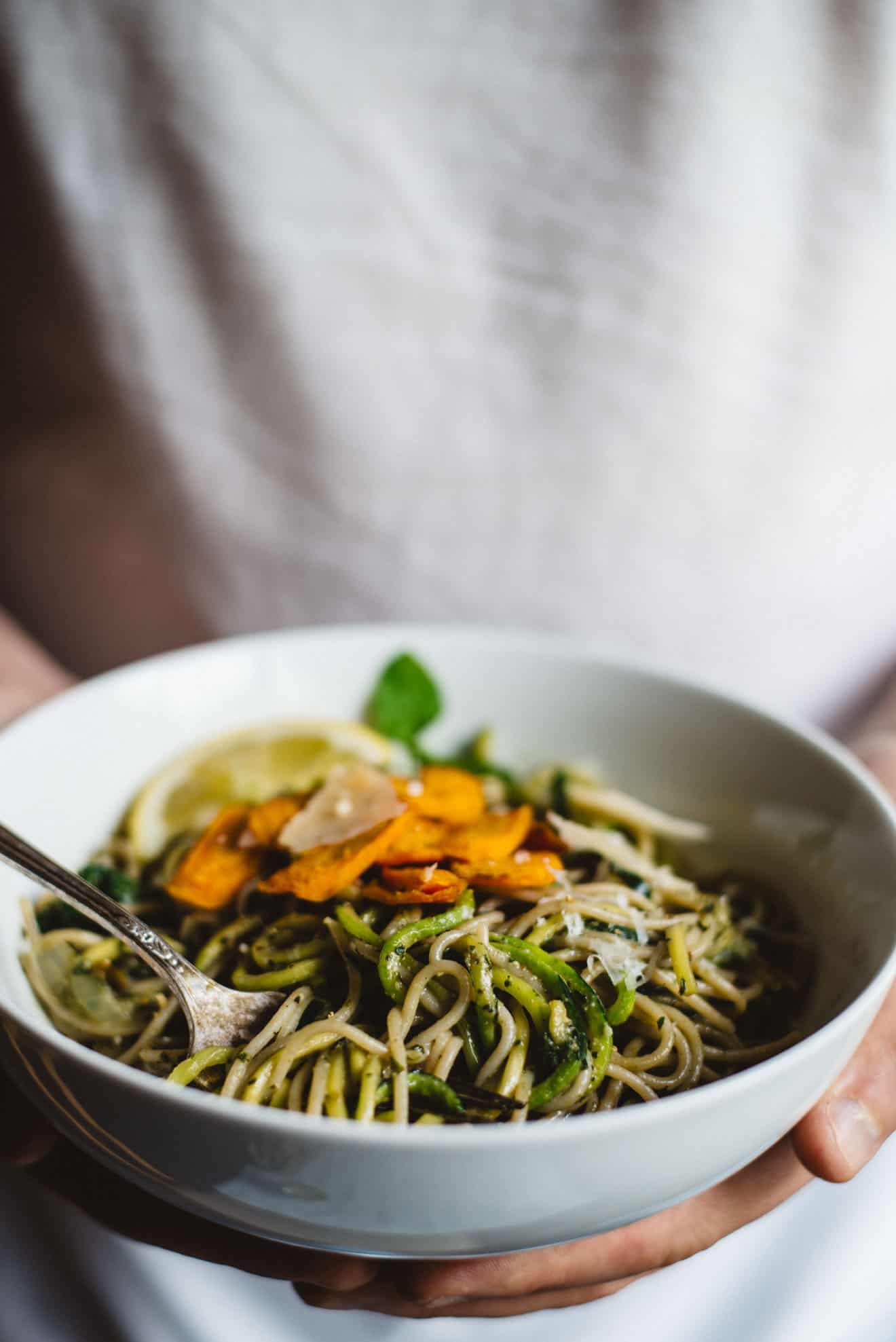 Carrot Top Pesto Pasta with Zucchini Noodles - easy gluten-free, vegetarian dinner in 30 minutes! by @healthynibs