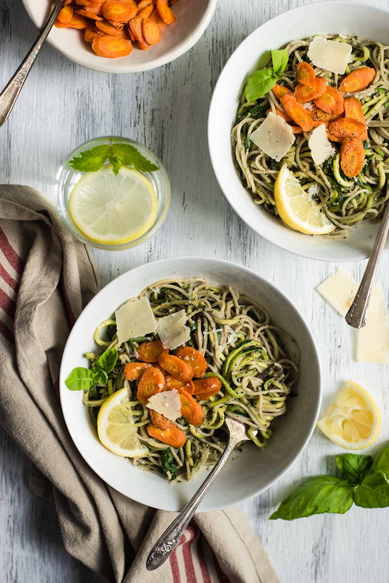 Spring Pasta with Carrot Top Pesto - easy gluten-free, vegetarian dinner in 30 minutes! by @healthynibs