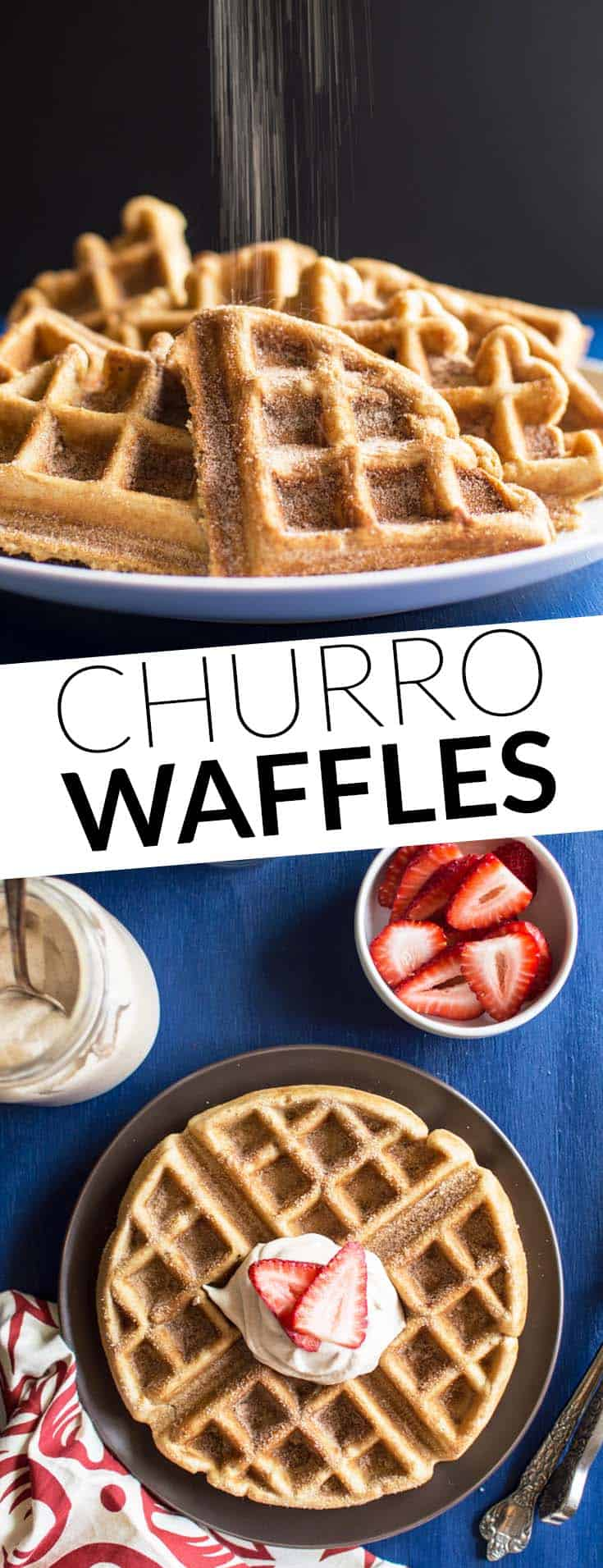 Churro Waffles with Cayenne Whipped Cream - perfect for lunch! @healthynibs