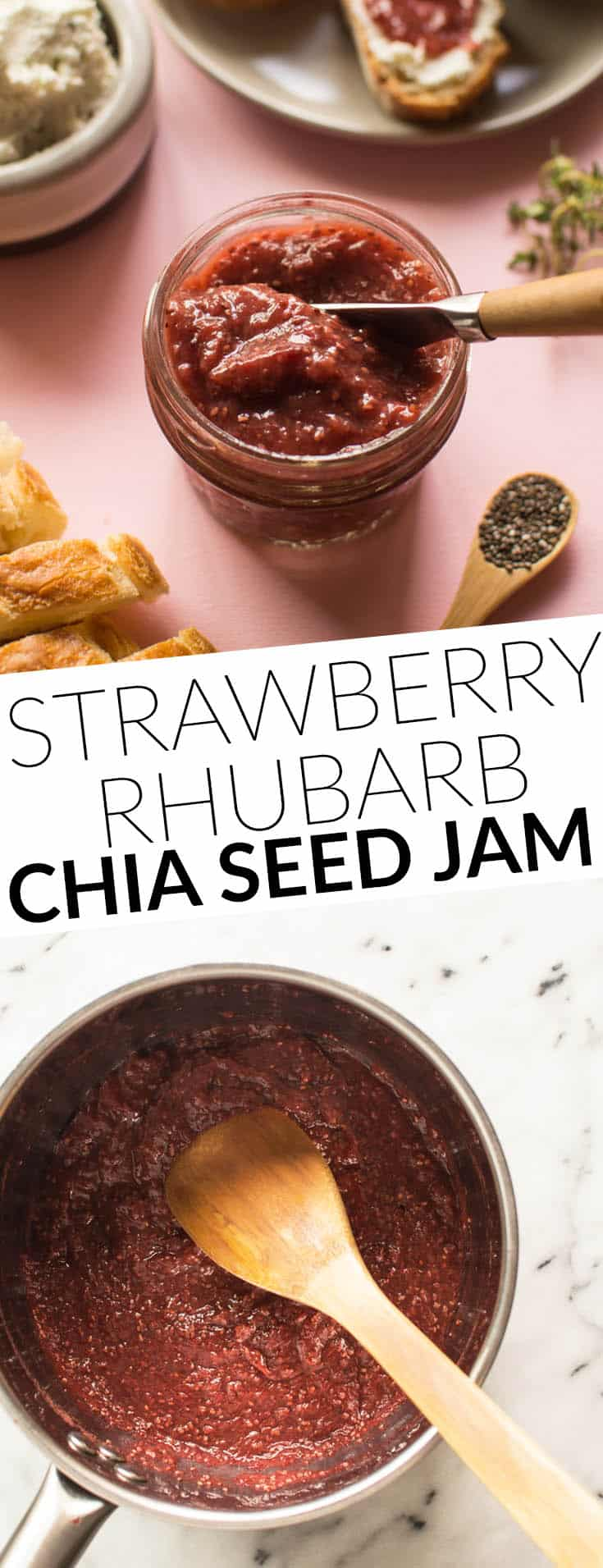 Strawberry and Rhubarb Chia Seed Jam - a delicious naturally sweetened jam with NO refined sugars! by @healthynibs