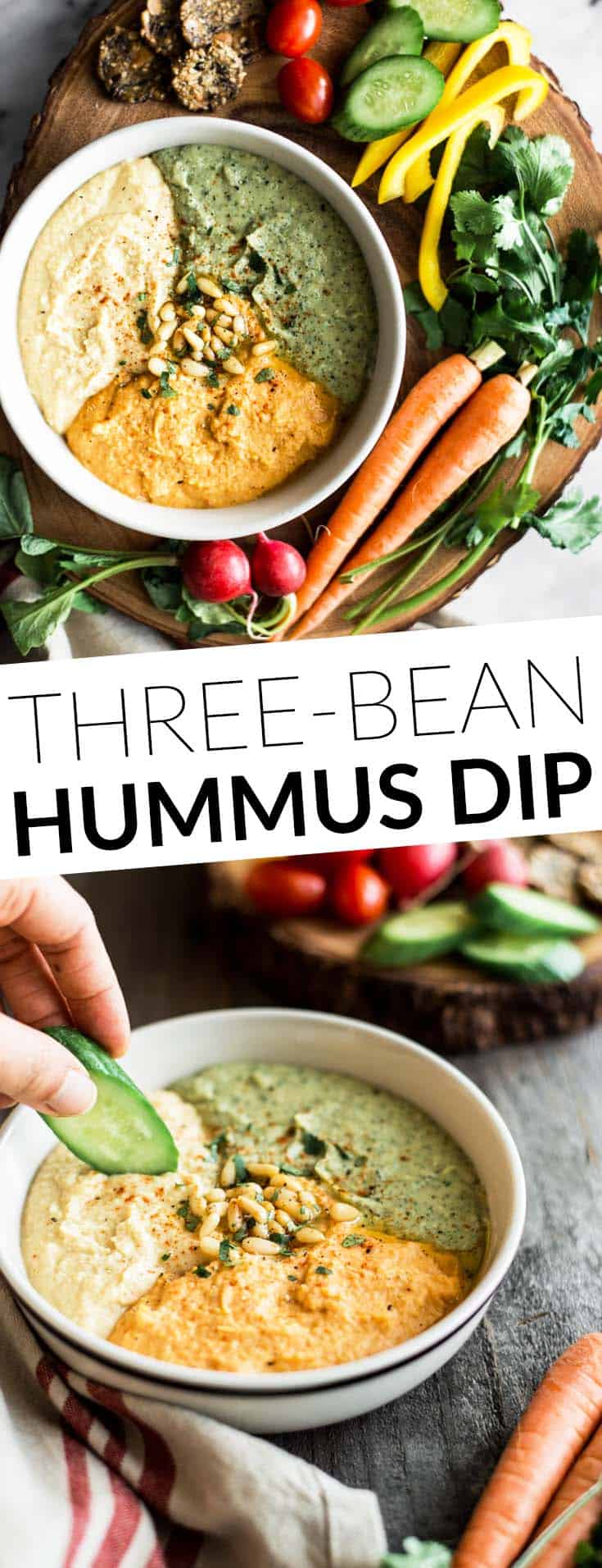 Perfect Hummus Three Ways - Roasted Garlic Hummus, Carrot Harissa Hummus, and Cilantro Jalapeno Hummus - it's a great protein-packed dip for pre- and post-workout! by @healthynibs