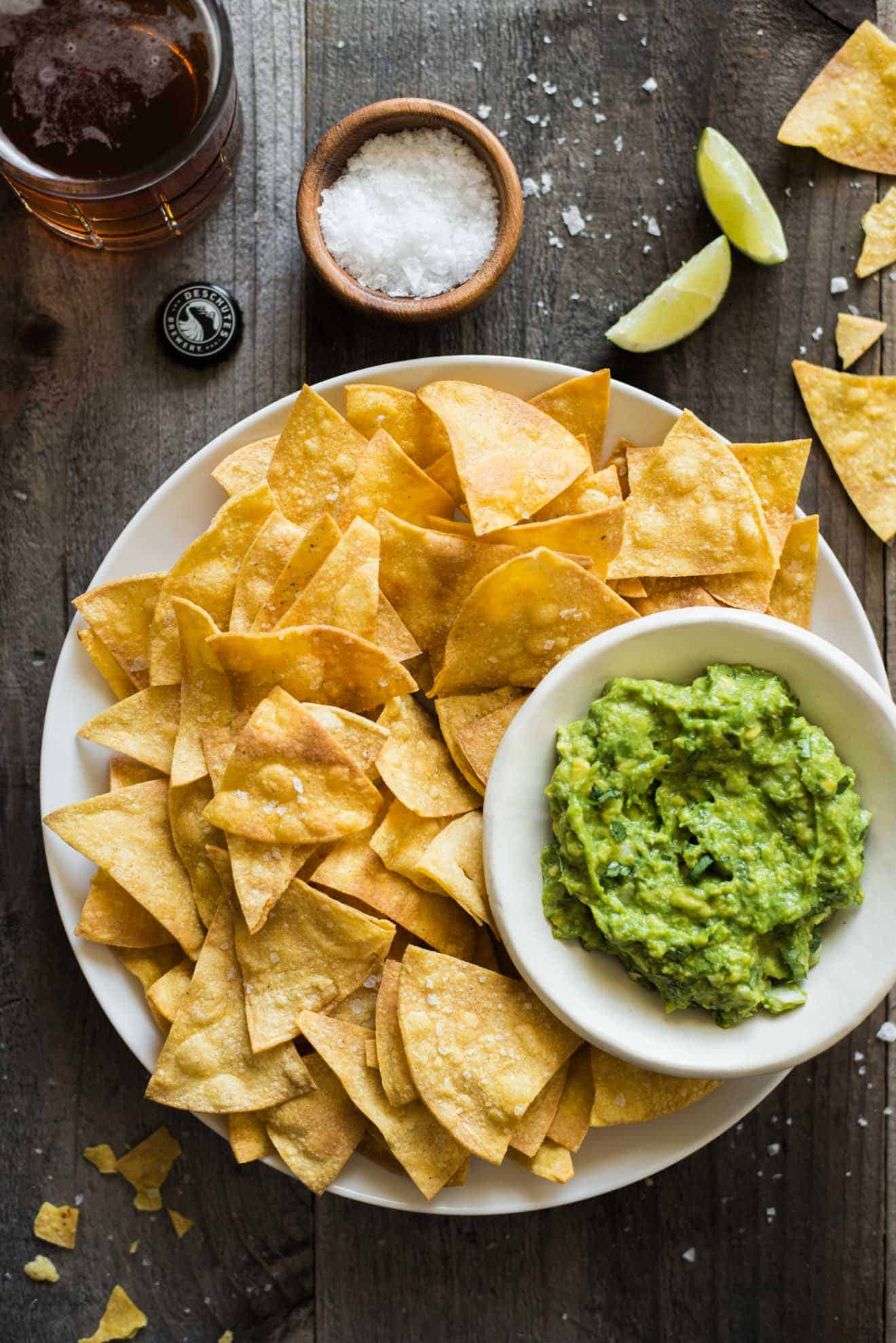 Easy, healthy baked tortilla chips made with 4 ingredients only! (gluten free) by @healthynibs