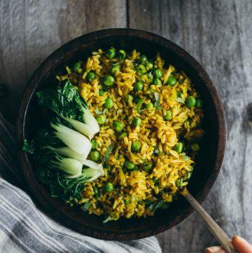 Burmese Fried Rice with Shallots, Turmeric and Peas (Vegan)