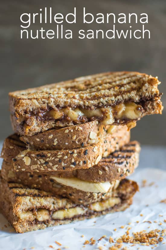 Grilled Banana Nutella Sandwich - easy, decadent snack by @healthynibs