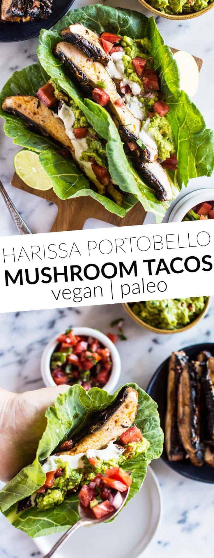 Harissa Portobello Mushroom Tacos - lighten up your tacos with collard greens! These tacos are ready in under 30 minutes! vegan, gluten-free, paleo, whole30-friendly. by @healthynibs