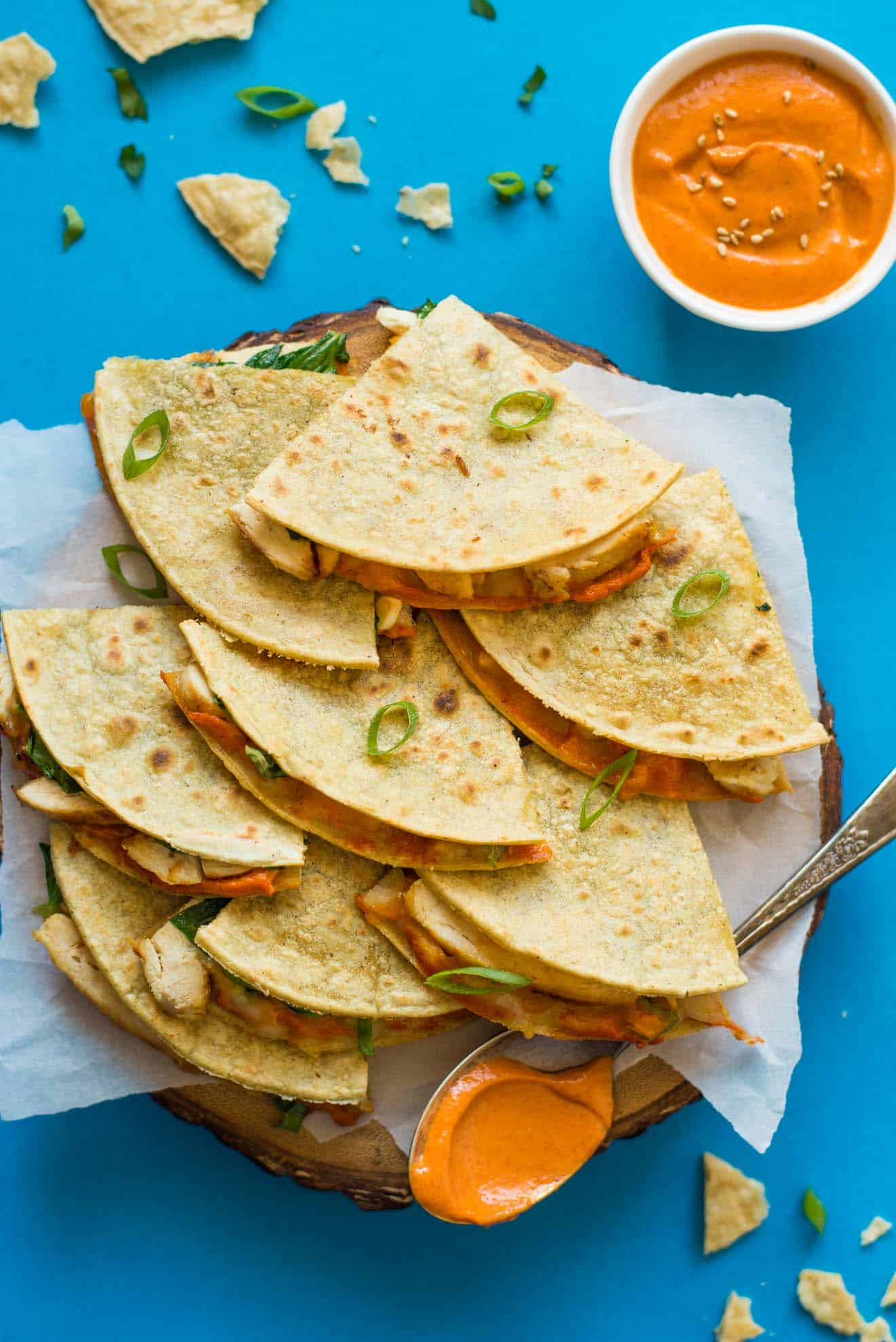 Chicken Quesadillas with Gochujang Sauce - easy gluten free meal in under 30 minutes!