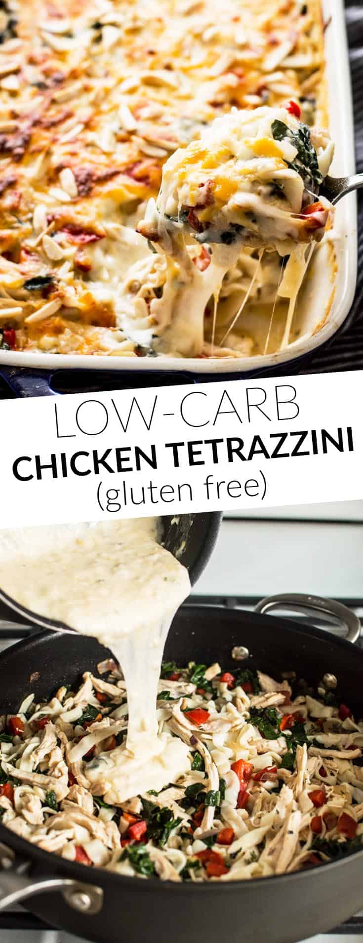 Low Carb Chicken Tetrazzini - this gluten-free cheesy wonder uses tofu shirataki noodles instead of pasta! by @healthynibs