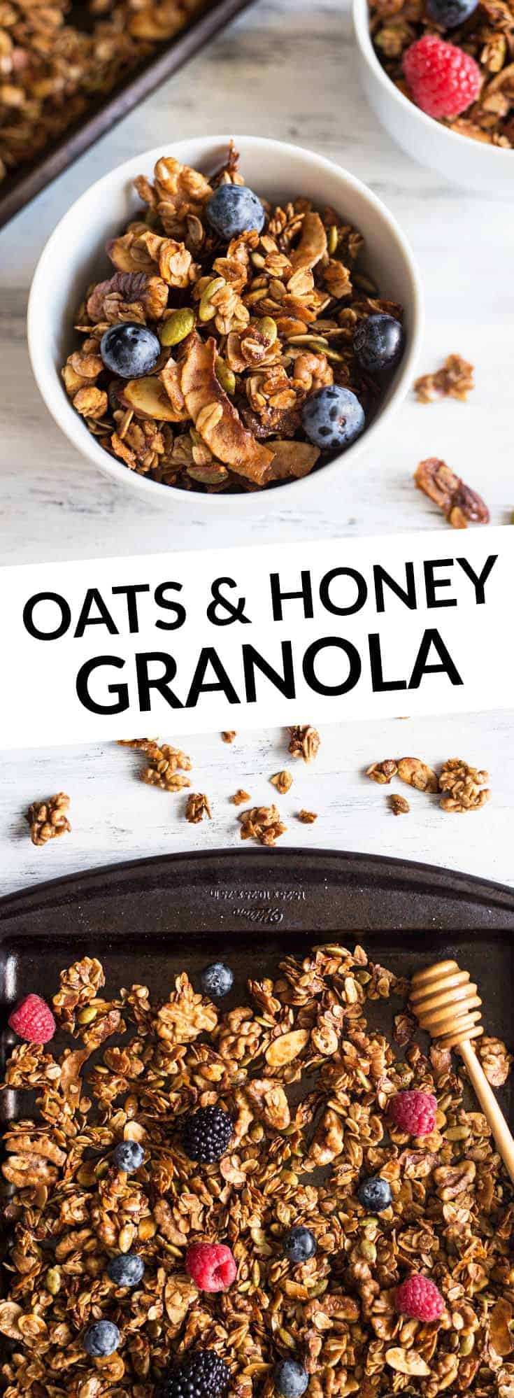 Easy Oat and Honey Granola - a healthy, gluten free granola that's easy to make at home! by @healthynibs
