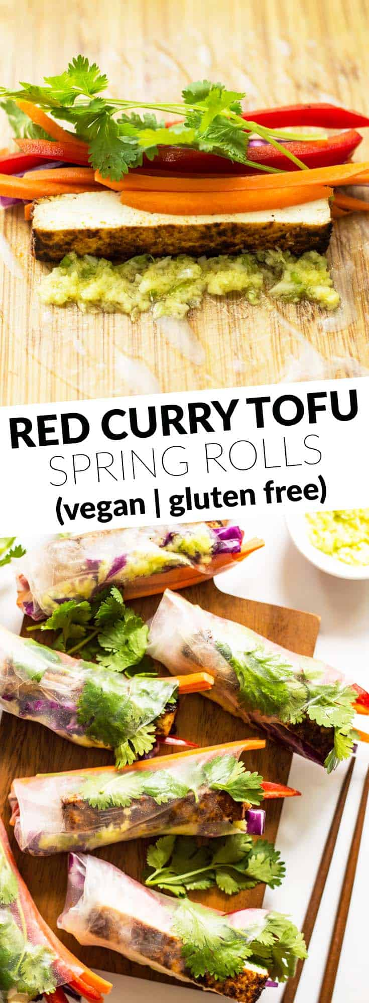 Red Curry Brown Sugar Tofu Spring Rolls - the perfect healthy vegan and gluten-free appetizer by @healthynibs