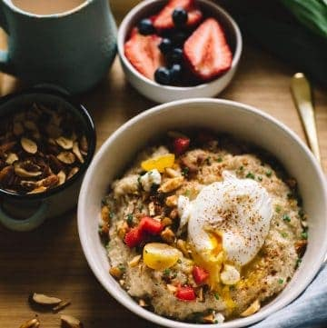 Savory Oatmeal with Poached Eggs and Roasted Almonds