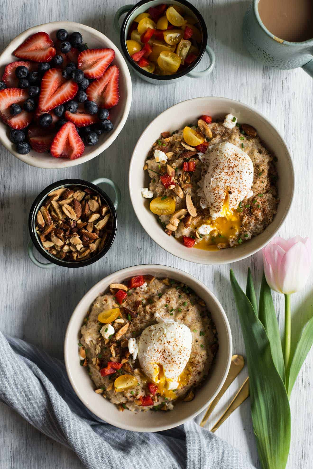 Savory Oatmeal with Poached Eggs and Roasted Almonds | Healthy Nibbles ...