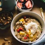 Savory Oatmeal with Poached Egg and Roasted Almonds - easy breakfast by @healthynibs