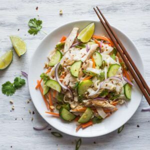 This tasty Lemongrass Chicken Noodle Salad is the perfect low-carb, gluten-free dinner. It's light, healthy and packed with vegetables. by @healthynibs