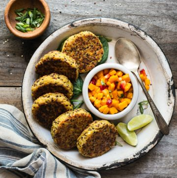 Quinoa Cakes with Chickpeas and Mango Salsa