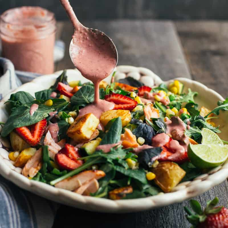 Teriyaki Salmon Salad with Strawberry Almond Dressing - easy meal ready in 45 minutes! by @healthynibs