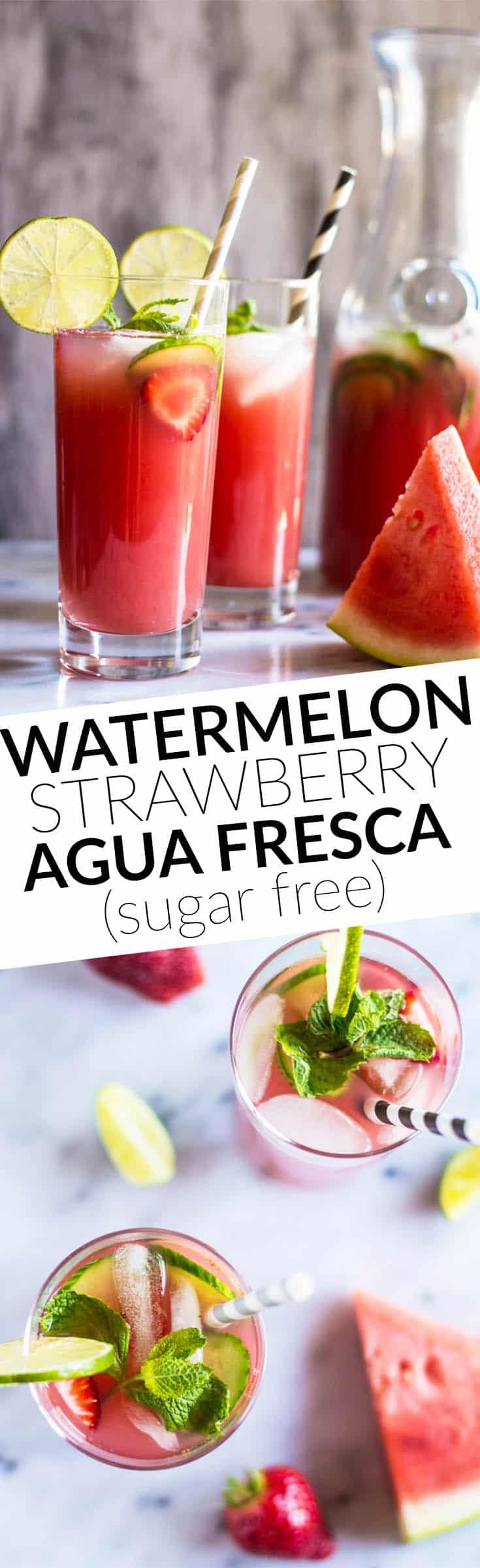 Sugar-Free Watermelon Strawberry Agua Fresca - super simple, five ...