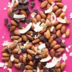 Chocolate Cranberry Trail Mix + 4 Easy Trail Mix Recipes with Almonds - here's 4 healthy snacks that you can make at home! They're gluten free and take only 30 minutes to prepare! by @healthynibs