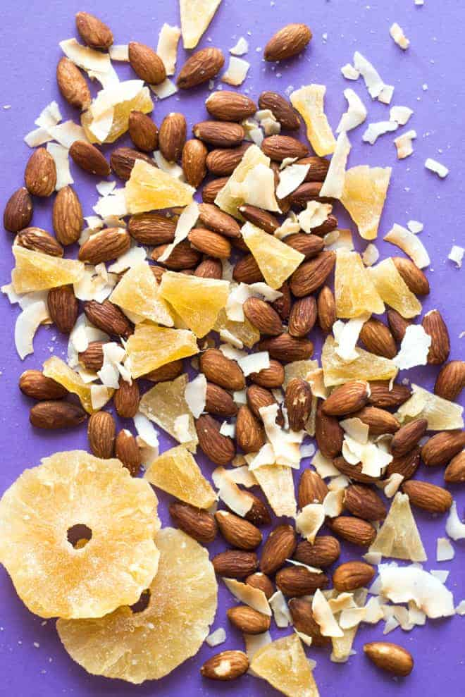 Tropical Delight Trail Mix + 4 Easy Trail Mix Recipes with Almonds - here's 4 healthy snacks that you can make at home! They're gluten free and take only 30 minutes to prepare! by @healthynibs