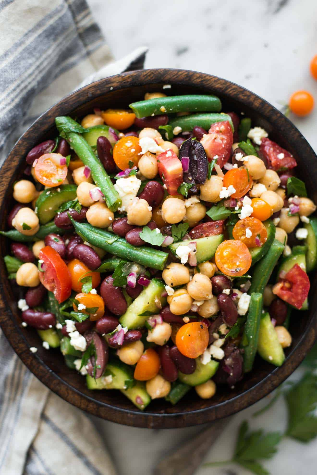 Mediterranean Three Bean Salad - this delicious, healthy salad is great as a side or a main meal! by @healthynibs