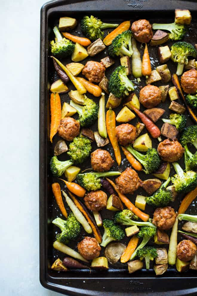 Chicken Meatball and Roasted Vegetable Sheet Pan Dinner - easy budget meal made with just 4 main ingredients and costs under $13 to make! by @healthynibs