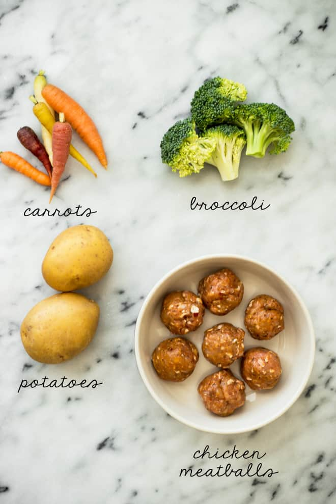 Here's the ingredients you need for my Chicken Meatball and Roasted Vegetable Sheet Pan Dinner! by @healthynibs