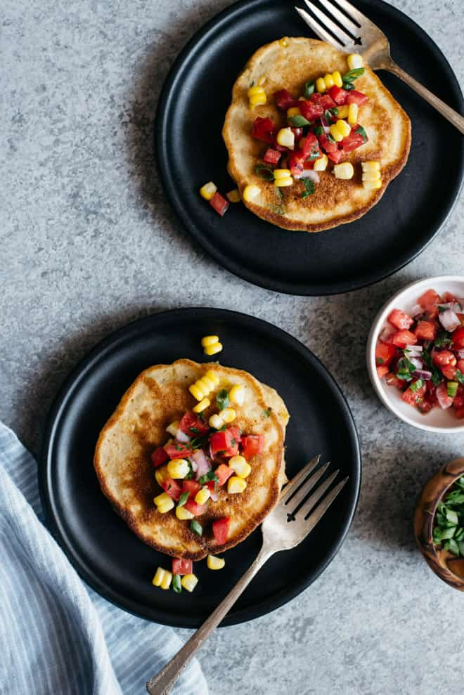 Savory Pancakes with Corn and Scallions (Dairy Free) - These simple, dairy-free pancakes are perfect for a savory breakfast! by @healthynibs