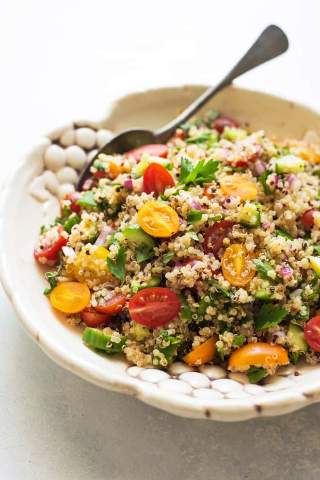 A delicious quinoa tabbouleh salad that is ready in 20 minutes!