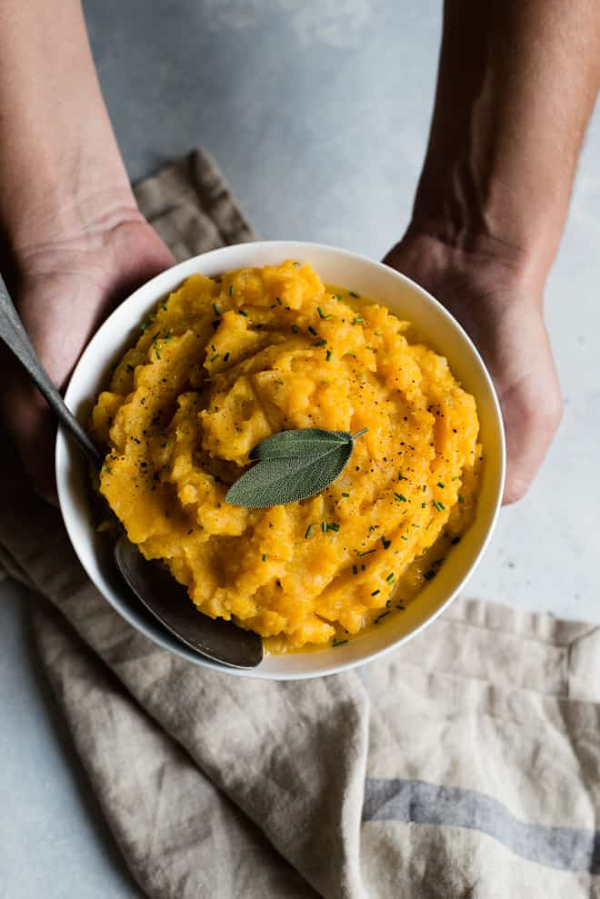 Butternut Squash Mashed Potatoes - a healthy side dish great for weeknights and the holidays!