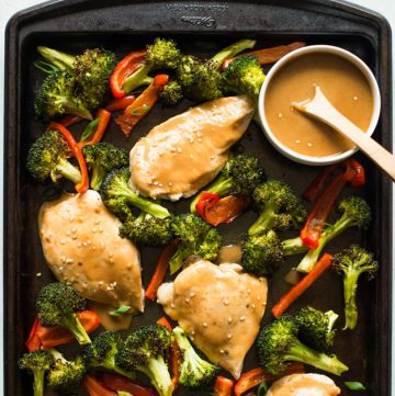 Chicken Sheet Pan Dinner with Peanut Sauce