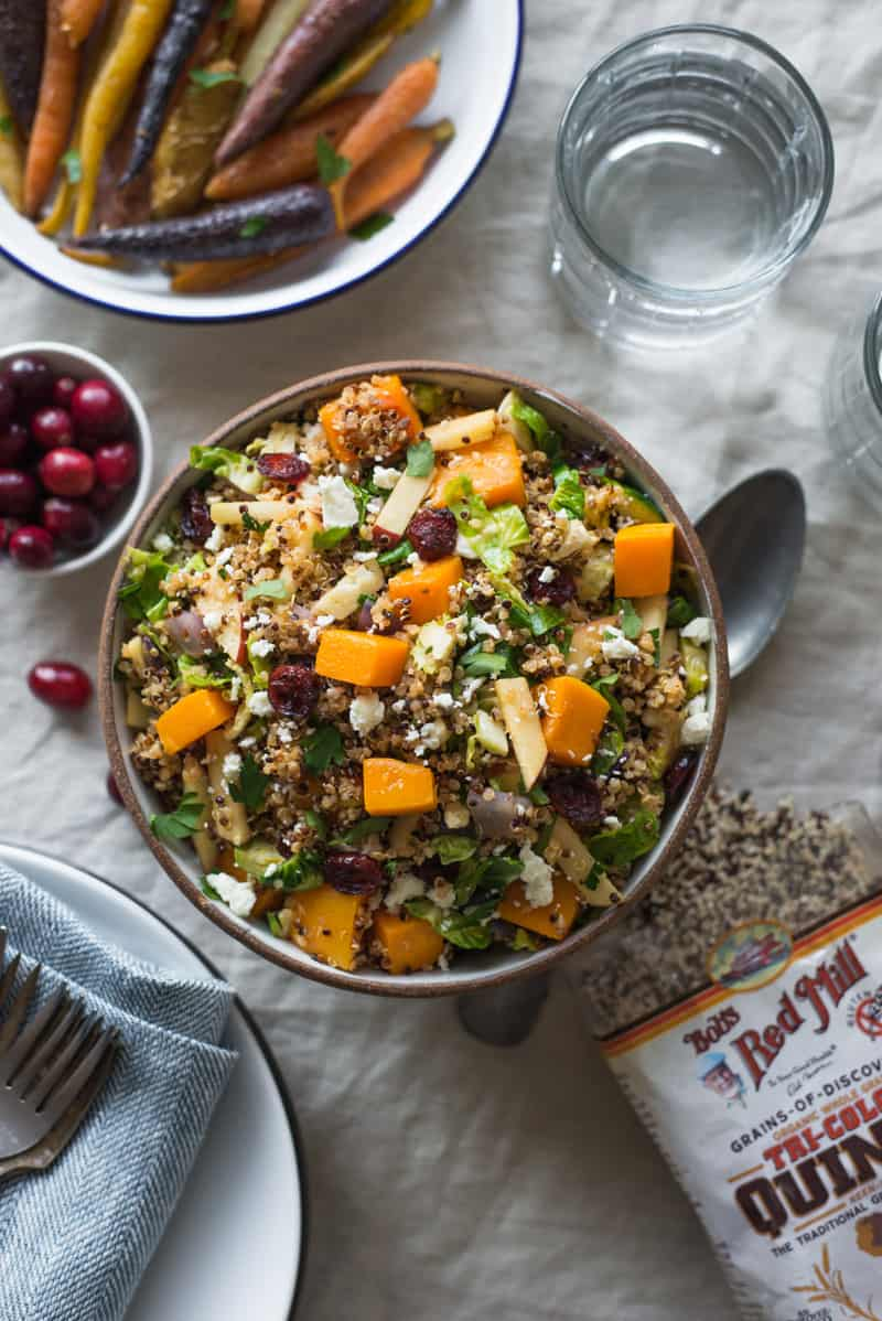 Fall Harvest Quinoa Salad - an easy, healthy and gluten free salad that is filled with fall fruits and vegetables. Perfect for weeknight dinner or gatherings!