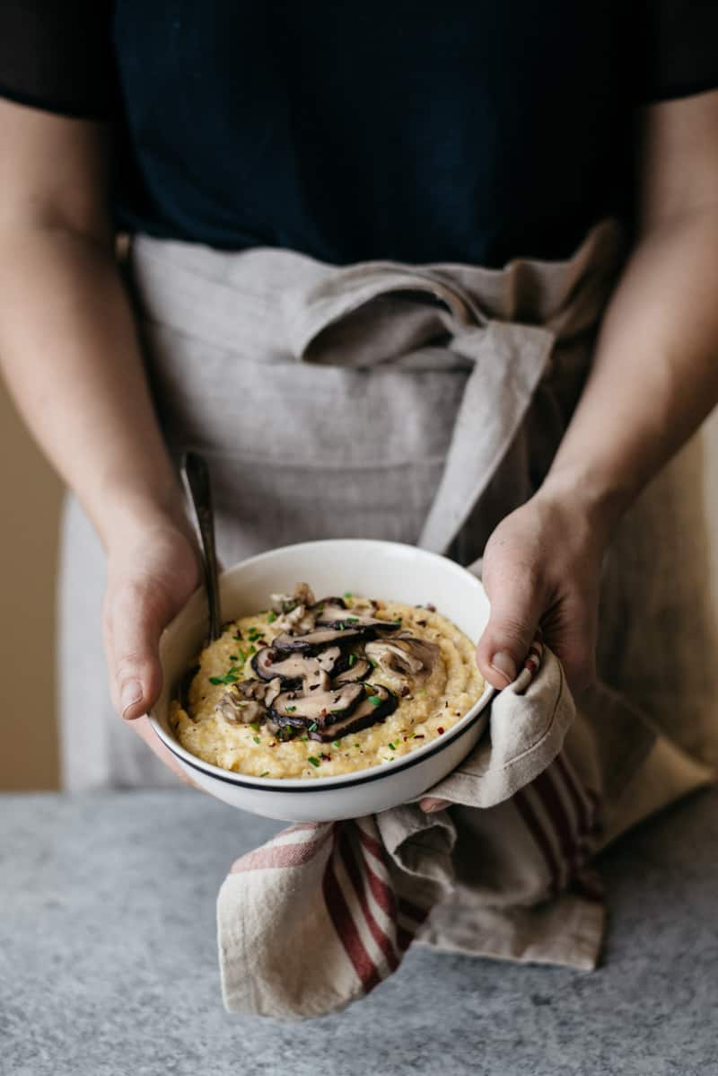 Cauliflower Polenta with Sauteed Mushrooms by @healthynibs