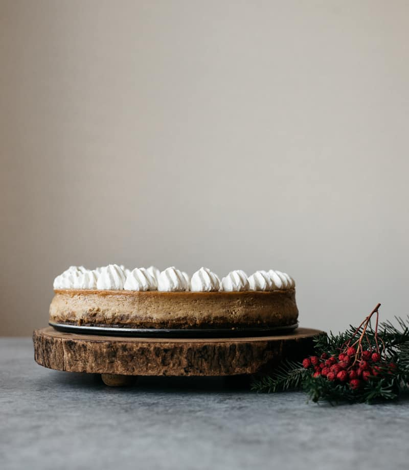 Lightened Up Gingerbread Cheesecake with Tofu - an easy, gluten free dessert from @healthynibs