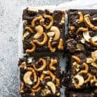 Gluten-Free Brownies - gluten-free brownies topped with salted pretzels, cashews and chocolate chips! by @healthynibs