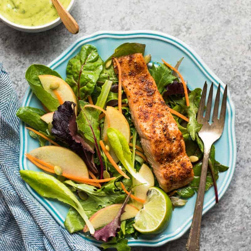 Cajun Spiced Baked Salmon with Avocado Lime Sauce - a healthy, gluten-free meal ready in under 30 minutes! by @healthynibs