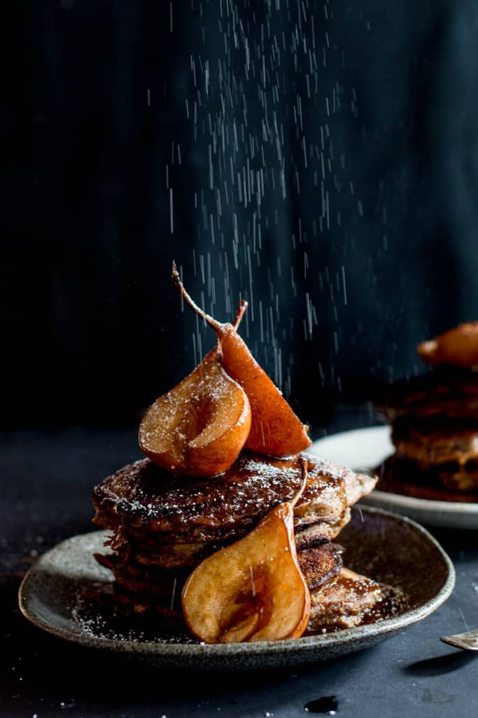 Sticky Date Pancakes with Butterscotch Sauce with Roasted Pears from @thebrickkitchen