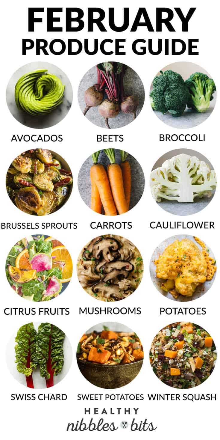 February Produce Guide - fruits and vegetables that are in season + recipe ideas on how to cook them!
