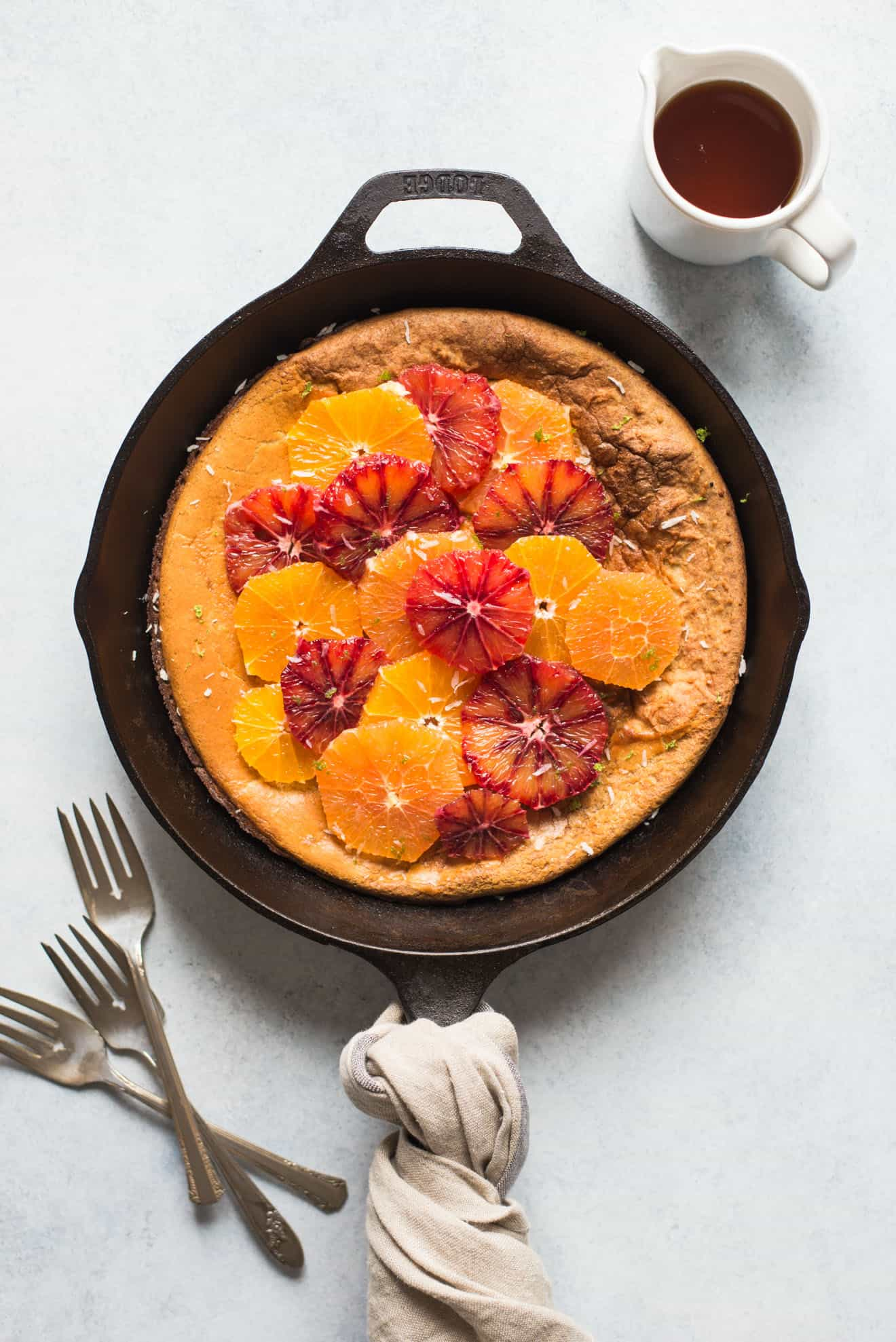 Gluten-Free Dutch Baby with Oranges - a healthy, low-sugar breakfast!